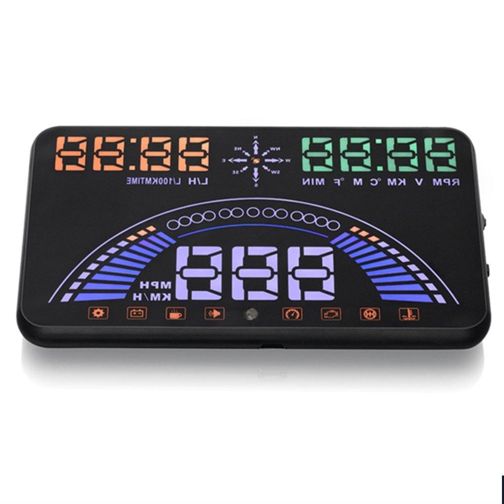 S7 OBD + GPS affichage tête haute bimode Super Multi fonction 5.8 pouces sécurité Plug & Play HUD avec compteur de vitesse et avertissement de vitesse - 5