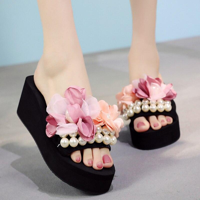 String Bead Flower Handmade Wedges Women Shoes Outdoor Beach Sweet High Heels Slippers S
