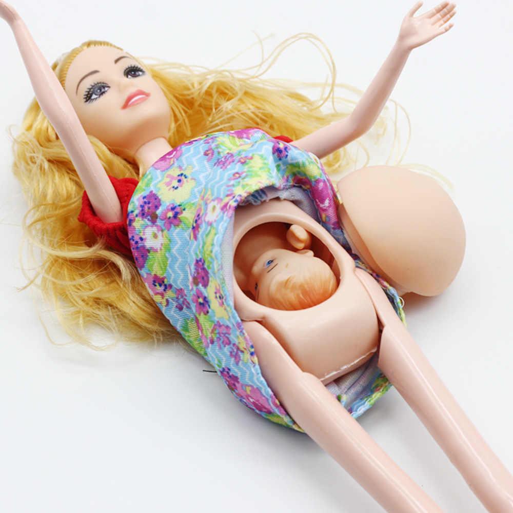 큰 배꼽 차일 29cm 인형 소녀 재생 집 장난감 임신 태어난 아기와 함께 그녀의 배에 아기를 가지고 진짜 임신 어머니