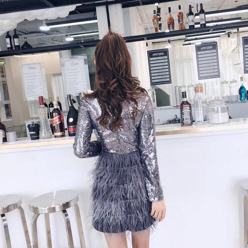 Longues cou Robe Couture Couleur Brillant Gris Slim V Noir Noir Dropshipping Nouveau gris Lourd D'autruche Manches Paillettes Plume gPwBv00q5