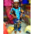 african bazin riche design mix printed colors embroidery baby design top and pants together without cap two pcs one set