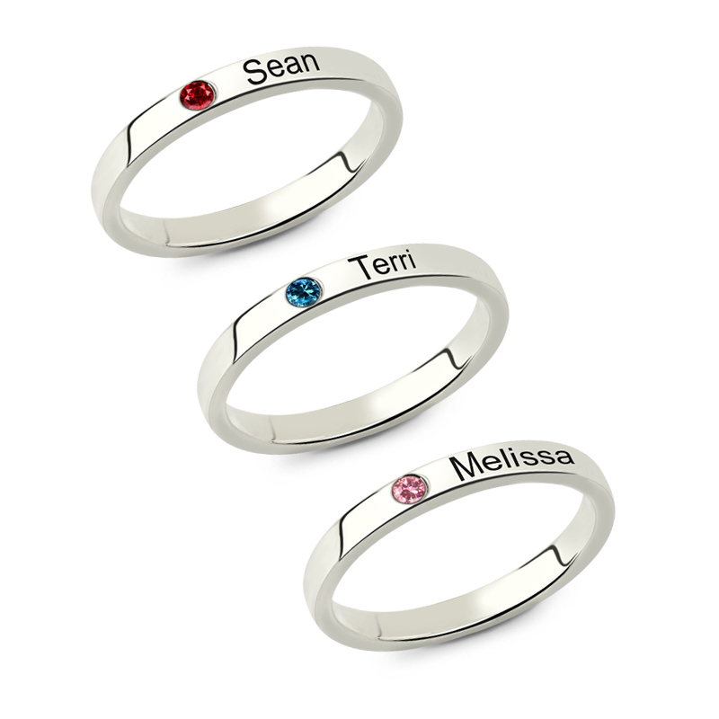 Wholesale Stackable Engraved Name Rings with Birthstone Sterling Silver Triple Ring Mother's Jewelry