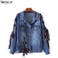 2017 European And American New Denim Jacket Air Eye Belt Bf Style Denim Jacket Loose Type