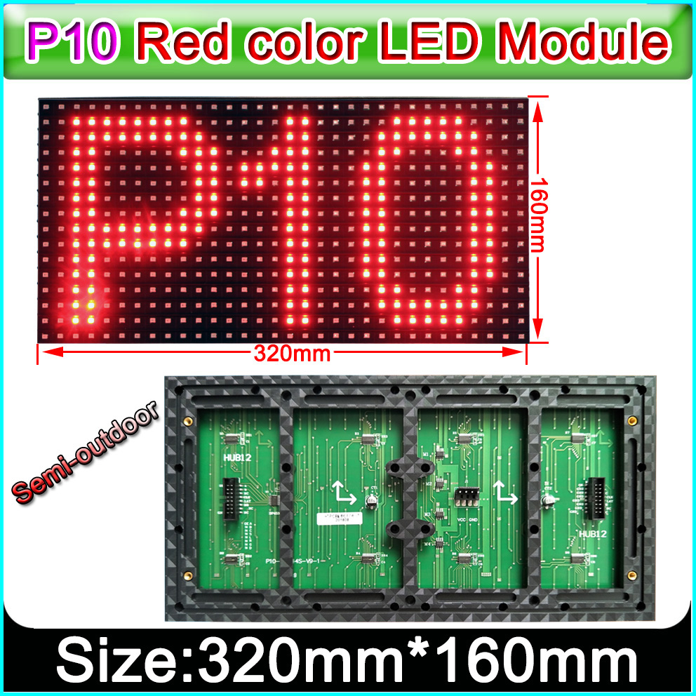320 x 160mm Semi-outdoor red color P10 LED display panel,Single color indoor SMD P10 LED display module