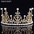 Mecresh Top Cristal Simulado Pérola Jóias de Ouro Banhado A Jóia Do Cabelo Do Casamento Coroa Tiara De Noiva HG050