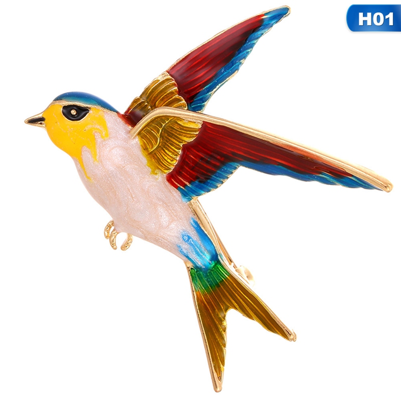 New Fashion  Swallow Bird Shape Colorful Enamel Brooches Animal Pin For Women Kids Scarf Suit Lapel Pins Pendant Jewelry