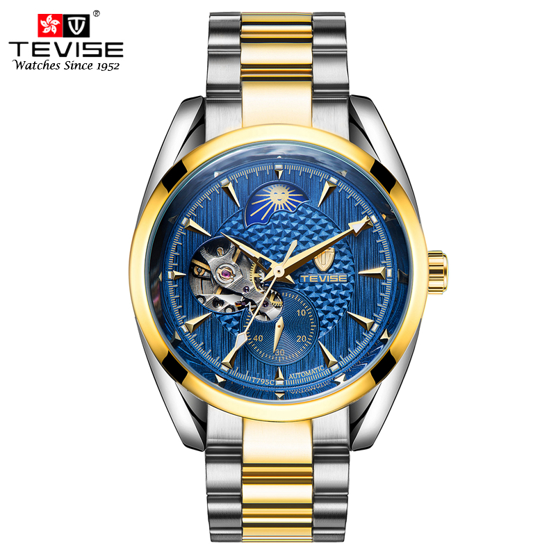 TEVISE Automatic Self-Wind Watch Tourbillon Chronograph Moon Phase Stainless Steel Silver Watches Men Mechanical 795G with tool tevise 8378 men analog tourbillon automatic mechanical watch working sub dials stainless steel body
