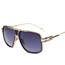 OLOEY European and American trend men sunglasses fashion retro metal lady big fr