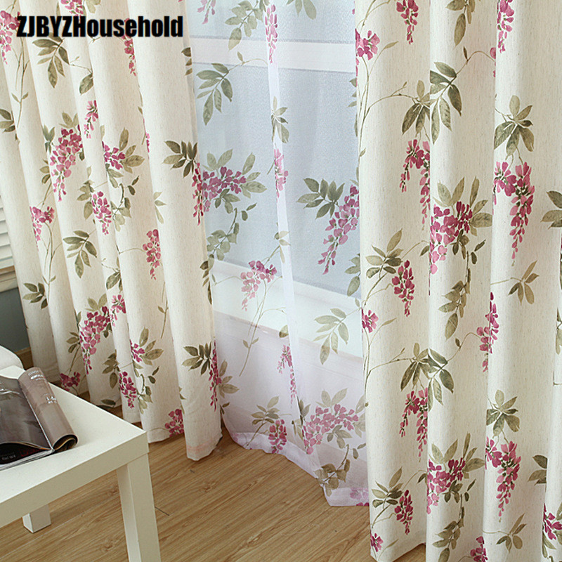 2018 New Curtains For Dining Living Bedroom Room High-grade Cotton Printed Cloth Thick Half Shading Screens Garden Room