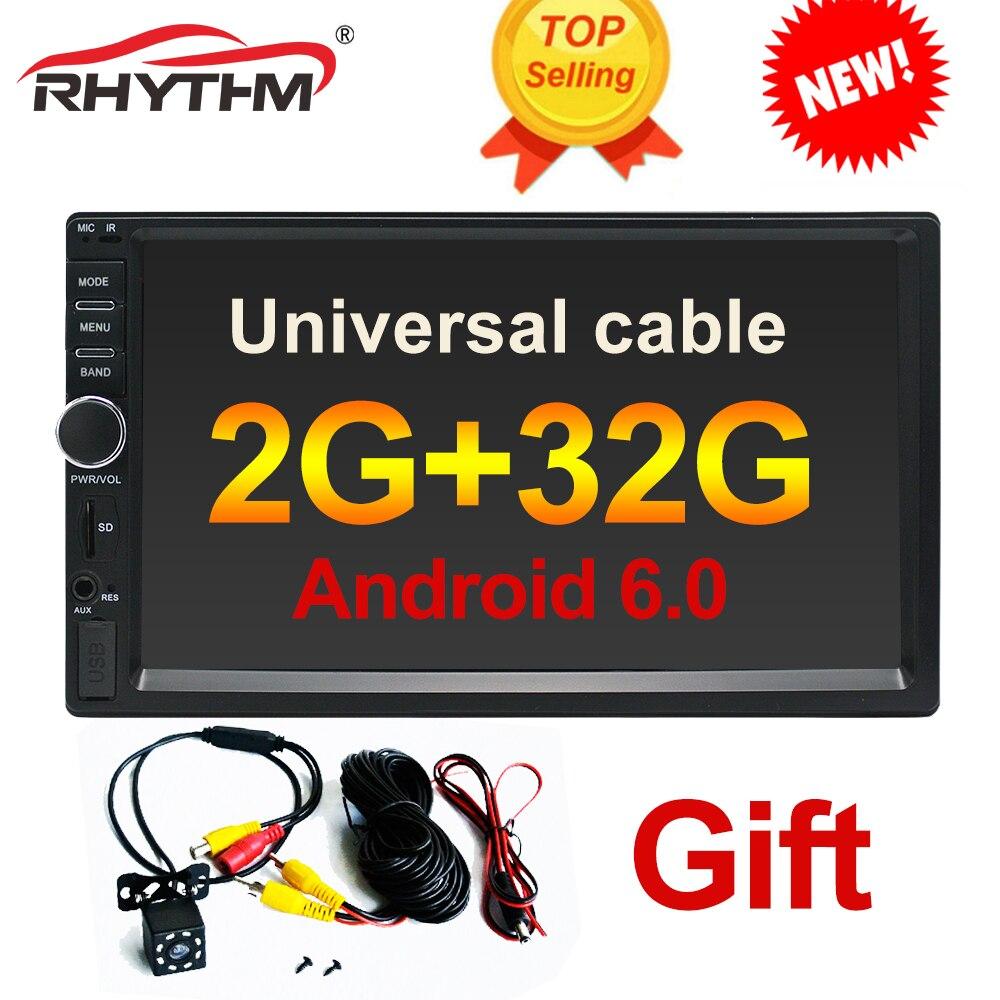 2din Android 6,0 автомобиль радио стерео 2 г + 32 мультимедийный плеер 7 универсальный gps навигации Автомобильный радиоприемник с Bluetooth Видео плеер ...