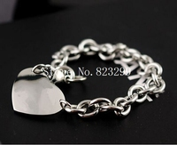 good quality lady's silver stainless steel fashion heart charms bracelet jewelry 8