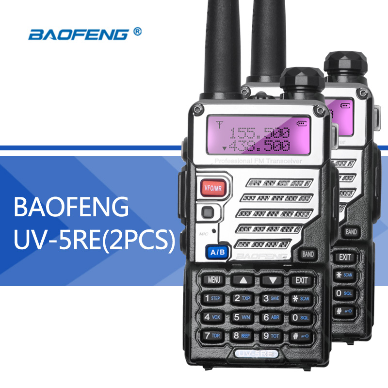 imágenes para 2 UNIDS Baofeng UV5R UV5RE Walkie-Talkie Mejorada Versión UHF VHF Dual Reloj CB Transceptor FM de Radio VOX para caza de Radio