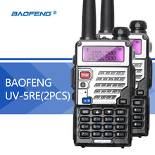 2 UNIDS Baofeng UV5R UV5RE Walkie-Talkie Mejorada Versión UHF VHF Dual Reloj CB Transceptor FM de Radio VOX para caza de Radio