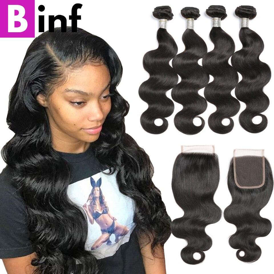 Hot Seller Binf Hair 4 Bundles Brazilian Virgin Hair Body Wave 100