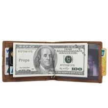 J.M.D Vintage Designer Crazy Horse Leather Slim ID Card Holder Mens Daily Wallet America Style Short R-8143B