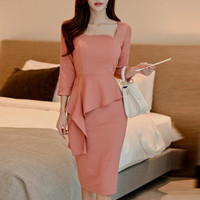 2019 Spring Summer Dress Suit Women Elegant Vintage Office Lady Bodycon Slim Business Work Formal Wear Fake Two Piece Outfit Set