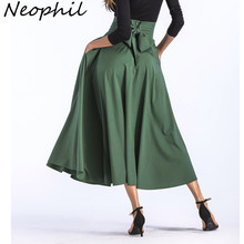 Neophil 2018 largo Maxi básico Faldas más tamaño 4xL 100 cm musulmán  mujeres plisado alta cintura arco Bola de Split longa saias. d402070d0cec