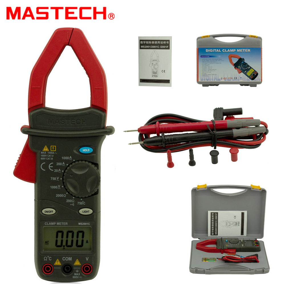 MASTECH MS2001C 1999 count Digital Clamp Meter AC/DC Voltage ACA 1000A Tester Detector with Diode Backlight mastech ms2001c digital clamp meter ac dc voltage tester detector with diode and backlight