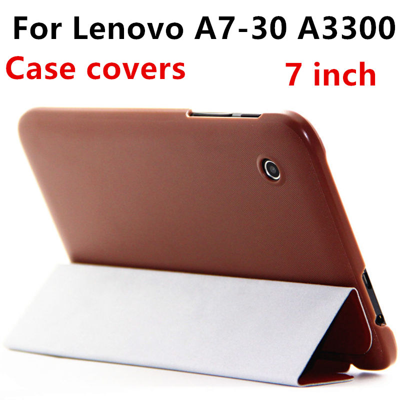 Case cover For Lenovo A7-30 A3300 Protective Smart Covers Leather Tablet PC A3300-H a7-30 A7 30 PU Protector Sleeve Cases 7 inch for lenovo tab 2 a7 30 2015 tablet pc protective leather stand flip case cover for lenovo a7 30 screen protector stylus pen