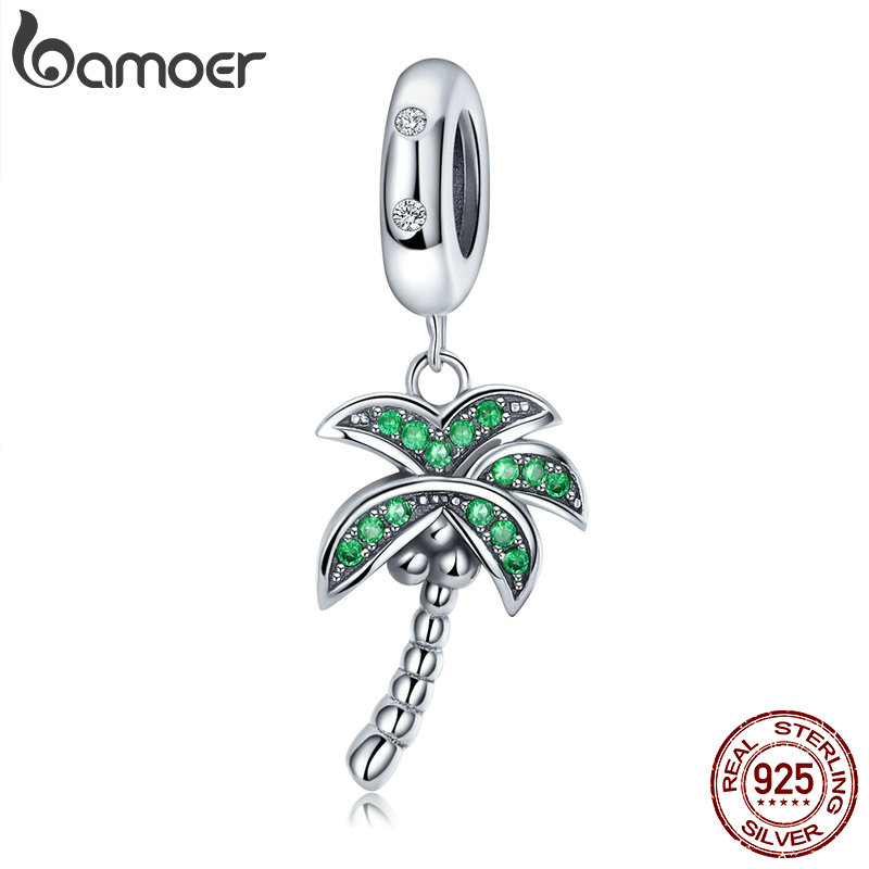 BAMOER High Quality 925 Sterling Silver Coconut Tree Charm Green CZ Pendant fit Charm Bracelets DIY Jewelry Making SCC697BAMOER High Quality 925 Sterling Silver Coconut Tree Charm Green CZ Pendant fit Charm Bracelets DIY Jewelry Making SCC697