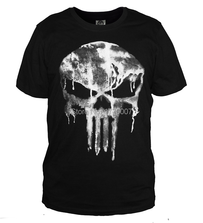 New The Punisher Skull Ghost Men's T-shirt Slim Shirt Tops Sports Casual S-3XL