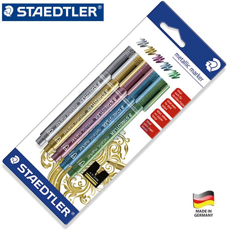 Staedtler 8323-SBK5 Metallic Permanent Marker Oil Waterproof Marker Pen Drawing for Paper Greeting Cards Graffiti Pretty Color kitsan30001san63705 value kit sanford uni paint marker san63705 and sharpie permanent marker san30001