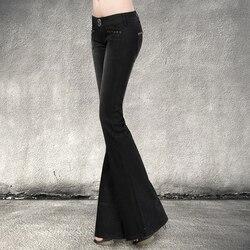 Freies Verschiffen 2019 Neue Mode Lange Hosen Für Frauen Boot Cut Schwarz Vintage Hosen Jeans Hosen Niedrige Taille Flare Hosen 25-32 größe