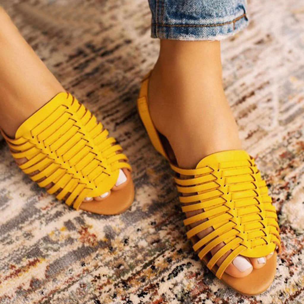 Women's Fashion Casual Rome Open Toe Solid Colors Hollow Out Fish Mouth Sandas Flat With Beach Shoes