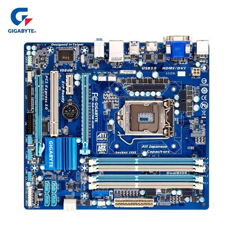 Gigabyte GA-H77M-D3H 100% Original Motherboard LGA 1155 DDR3 USB3.0 32G Desktop Mainboard SATA3 I7 I5 I3 For Intel H77 H77M D3H gigabyte ga 8i945plg original used desktop motherboard 945 lga 775 ddr2 atx