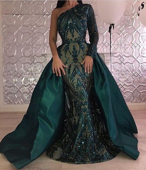 Emerald Green Muslim Evening Dress Long Sleeve Sequin Bling Detachable Train Kaftan Arabia Formal Party Gown Prom Dresses 2019