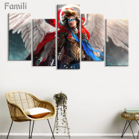 5Panel UnFramed Printed Angeles Girls Anime Demons Painting Children S Room Decoration Print Poster Picture Canvas