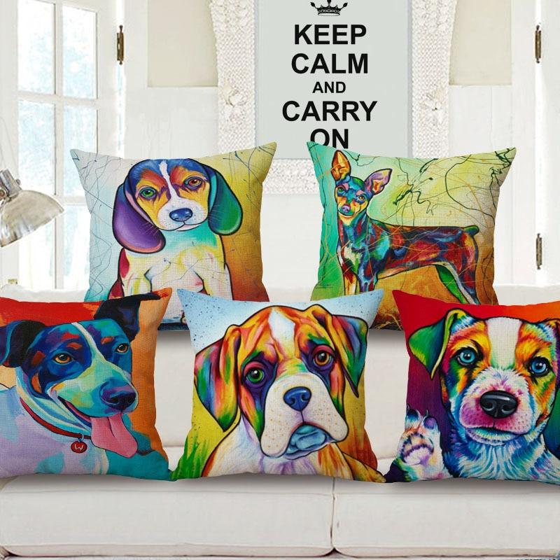 Pop Art Pug Pillowcase Fashion Funny Dog Linen Cotton Cushion Pillow Decorative Pillow Home Decor Throw Pillow Cushion Cover