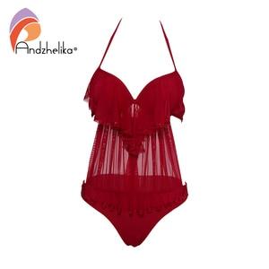 Image 4 - Andzheleka maiô sexy, babado, push up, peça única, feminino, malha sólida, maiô, moda praia, verão, 2020
