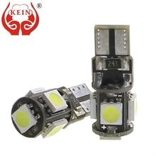 цена на KEIN 10pcs t10 led Canbus w5w 5smd 5050 led car 194 168 Side Wedge light License Plate Reading door lamp 12V auto Signal Bulb