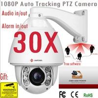 2018 3MP Audio PTZ Camera Auto tracking IP Camera 30X zoom high speed dome PTZ Camera Alarm audio Support