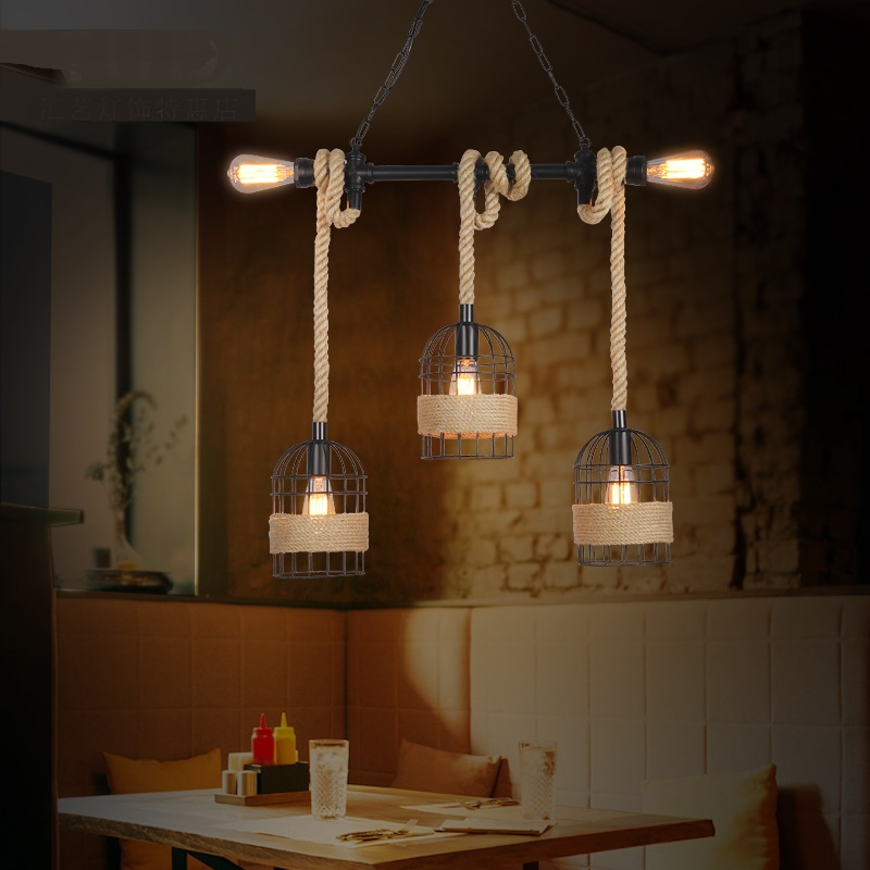 Loft industrial wind pipe rope Pendant Lights bar restaurant cafe bar cage retro window shop decoration Pendant Lamps FG5358 restaurant bar cafe pendant lights retro hone lighting lamp industrial wind black cage loft iron lanterns pendant lamps za10