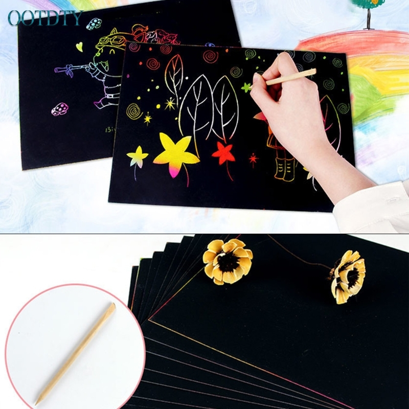 New Magic Scratch Art Painting Paper 10 Sheets A4  With Drawing Stick Kids Toy Gift #330