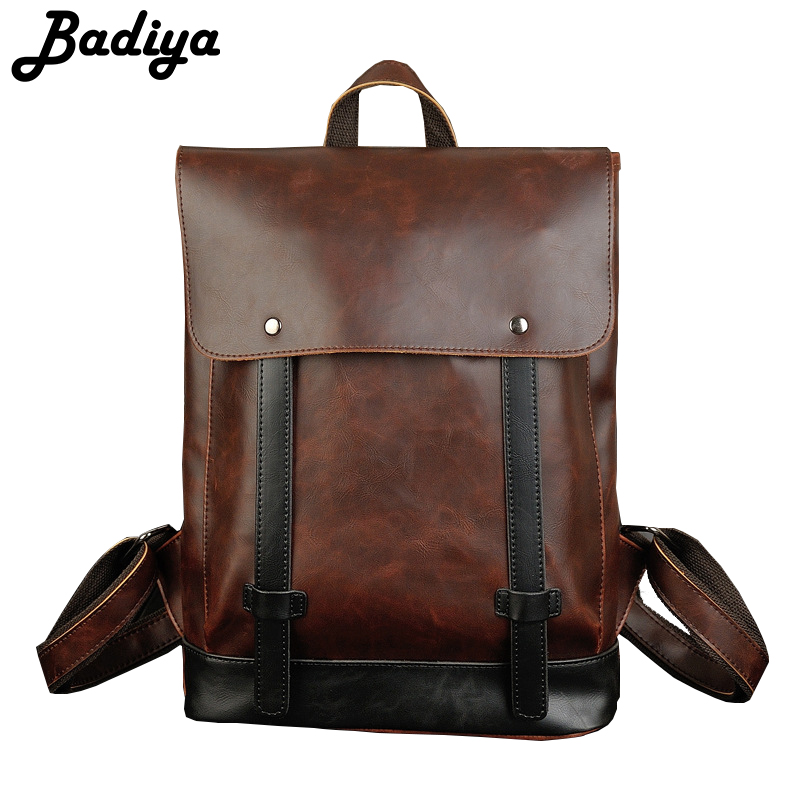 Fashion Brand Backpacks Vintage PU Leather Backpacks For Men Large Capacity Hasp Zipper Shoulder School Bag Casual Travel Bags