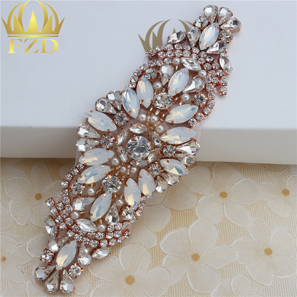 Handmade Hot Fix Rose Gold Rhinestones Applique Iron Sew On Bling Applique  for Headpieces Dresses Garters-in Rhinestones from Home   Garden on ... e2c2f43658a6
