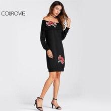 Black Floral Embroidered Foldover Off Shoulder Dress