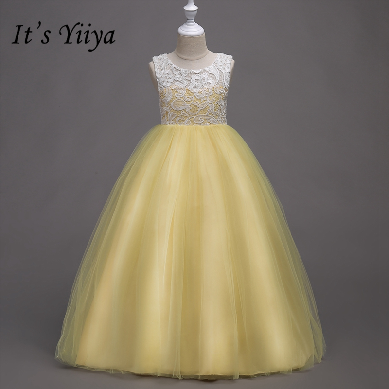 It's YiiYa   Flower     Girl     Dresses   8 Colors Sleeveless Lace Floor Length   Girls   Pageant   Dresses   Vestidos De Noches Para Ninas 569