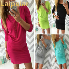 New Arrival Sexy Women Autumn Dress Fashion Solid Candy Color Wear Long Sleeve Cotton Slim Package Hip For