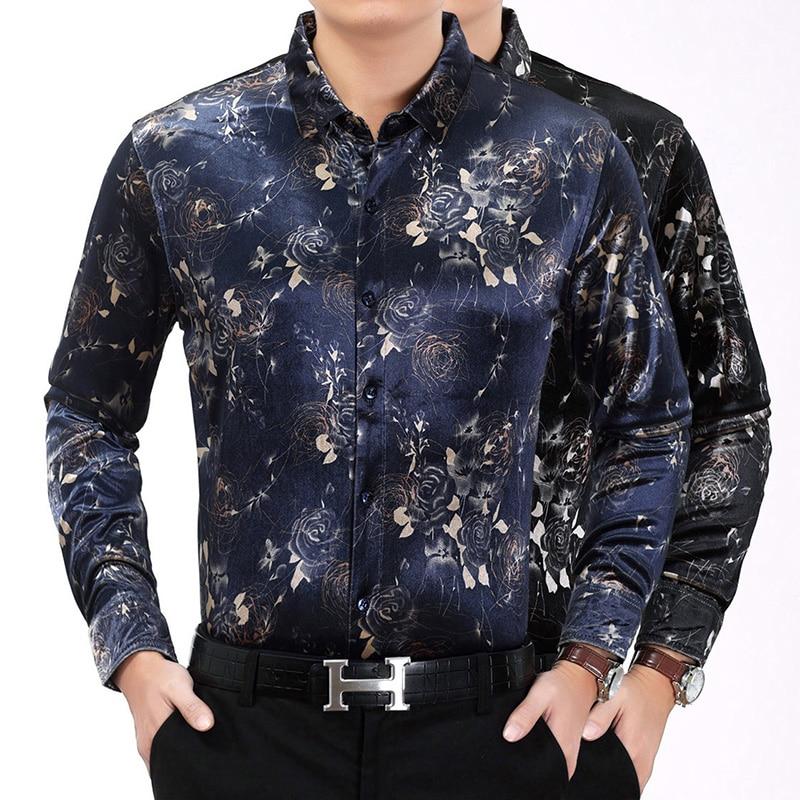Men Long Sleeve Shirt 2017 Fashion Social Shirt font b Slim b font Male Flower Printed