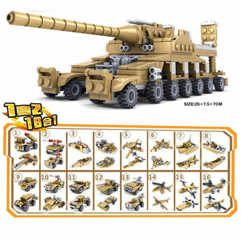 16 in 1 Total 33 Models Legoings Army Series Transformation Super Fire Tank Compatible Building Blocks Kit Toy Children Gifts