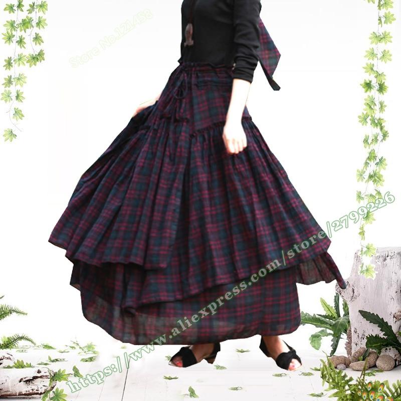2019 Spring and Autumn Plus Size 6XL XXXXL Vintage Casual 100 Cotton Plaid Grid Female Pleated