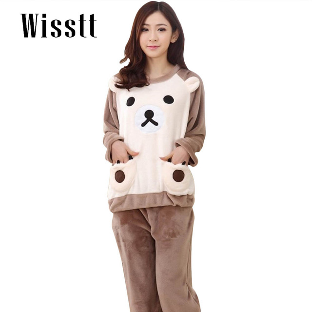 Wisstt Autumn And Winter Warm Flannel Pyjamas Women Long Sleeved Pajamas With Trousers 5 Colors Pijamas Mujer Sleepwear Women
