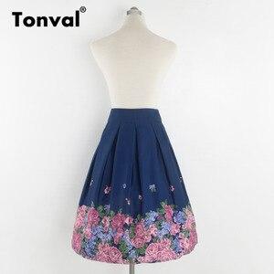 Image 5 - Tonval faldas plisadas con estampado Floral Retro para mujer, faldas plisadas Vintage, de cintura alta, de talla grande, Midi, de algodón, para verano, 4XL