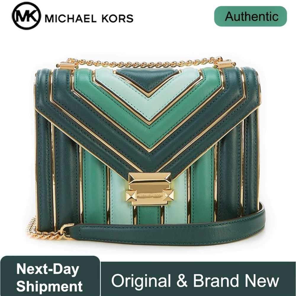 e9258f61a717 Michael Kors Whitney TriColor Quilted Leather Shoulder Bag (Racing Green)  Luxury Handbags For Women