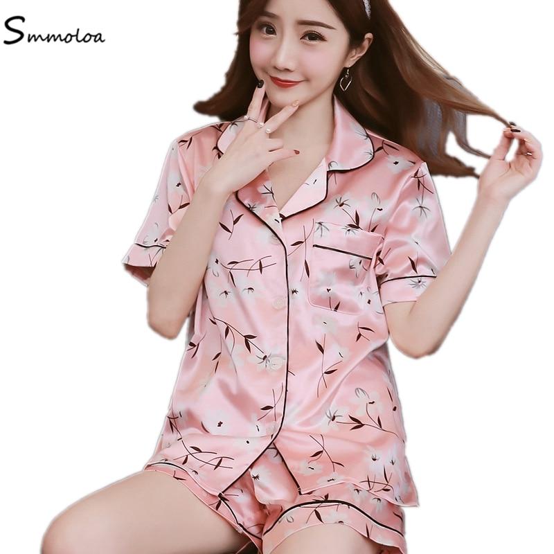 b84c35fcbc Detail Feedback Questions about Smmoloa Short Printed Silk Pajamas Set  Women Summer Sleepwear Sexy Nightwear Short Sleeve Satin Pyjama on  Aliexpress.com ...