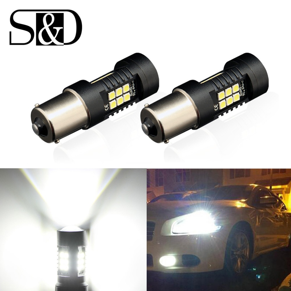 S&D P21W LED 1156 BA15S LED Bulbs Car Lights 1200Lm Turn Signal Reverse Brake Light R5W 3030 LEDs 12V 24V Automobiles Lamp D040